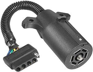 NEW SUN 7 Way Round to 5 Way Flat Adapter RV Trailer Wiring Connector Plug
