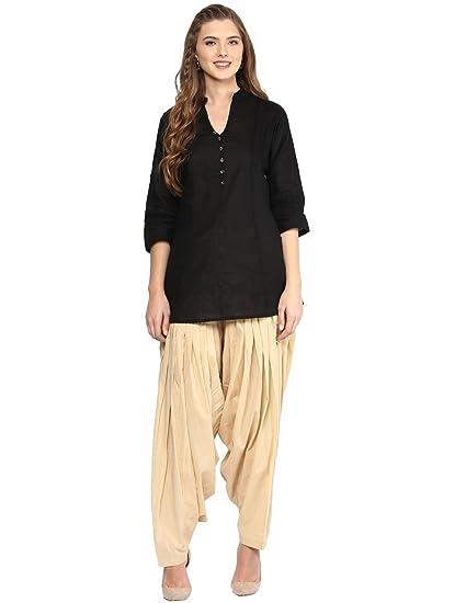 5a038d6408 Pistaa women's Cotton Short Black Kurta and Beige patiala Salwar set with  plus size