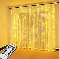 Cortina de Luces, OMERIL Cortina LED con USB, 8 Modos 3*3 M 300 LED, Cadena de Luces Impermeable IP65 y Control Remoto…