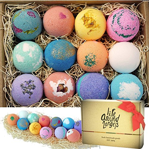 LifeAround2Angels Bath Bombs Gift Set 12 USA made Fizzies, Shea & Coco Butter Dry Skin Moisturize, Spa Kit Bath w/ pearls & flakes. Handmade Birthday Gift For Her, women gift sets, Fathers day gifts