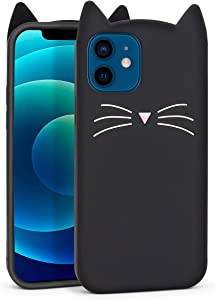 YONOCOSTA Cute iPhone 12 Mini Case, Black Whisker Cat Ears Funny Animals Kitty 3D Cartoon Soft Silicone Slim Fit Shockproof Cases Cover Skin for Girls Kids Women Children