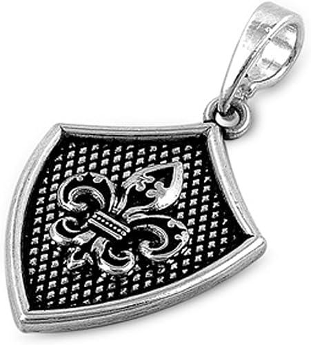 Fleur De Lis .925 Sterling Silver Pendant SHIELD