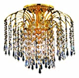 Elegant Lighting 6801F16G/RC Falls 16-Inch High 4-Light Flush Mount, Gold Finish with Crystal (Clear) Royal Cut RC Crystal Review