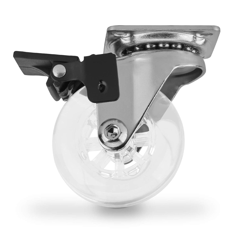 Juego de 4 Ruedas Giratorias de Mueble SWIFT Transparente /Ø 50 mm con Freno de SO-TECH/®