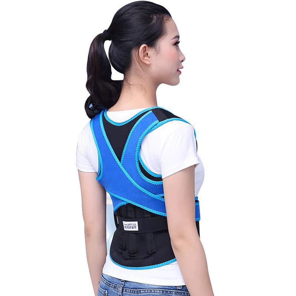 blueee XS Straight Back Posture Corrector,Support Clavicle Shoulder Straightener Upper For Man Women Kids Hunchback (color   blueee, Size   XS)