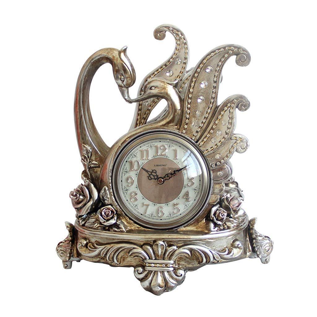デスククロックファミリークロックレジンクロック、ヨーロッパ式白鳥のレトロな置時計、装飾的なリビングルームのベッドルームベッドサイドクロックリビングルームのベッドルームに最適オフィス(色:#002) B07TGGYW5B #002
