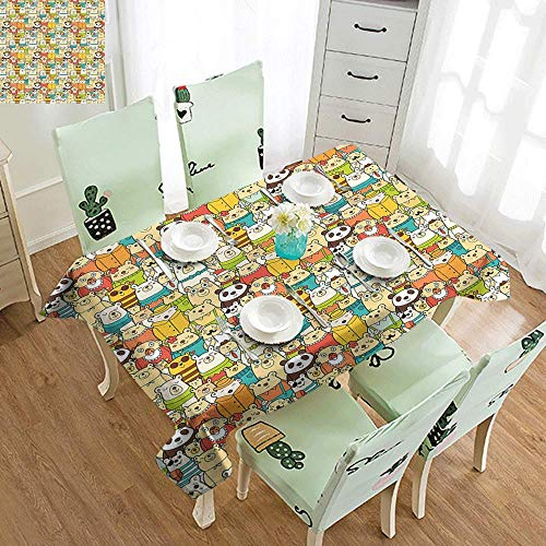 GUUVOR Kids Christmas Washable Long Tablecloth Cartoon Face of Santa with Pink Cheeks White Beard and Mistletoe on His Hat Dinner Picnic Home Decor W54 x L108 Inch Multicolor