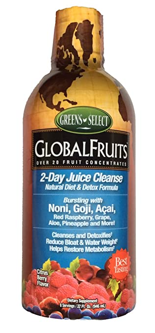 Global Fruits 2 Day Juice Cleanse Natural Diet and Detox Formula Citrus  Berry Flavor 32 fl