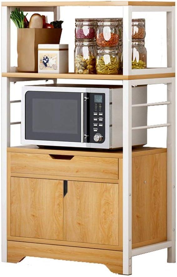 電子レンジスタンド キッチン収納オーガナイザーキャビネット金属電子レンジラックラックキッチン収納棚オーガナイザーキャビネットと引き出し 電子レンジ上ラック キッチン 収納 棚 (色 : Grey, Size : 60x34x119 cm)