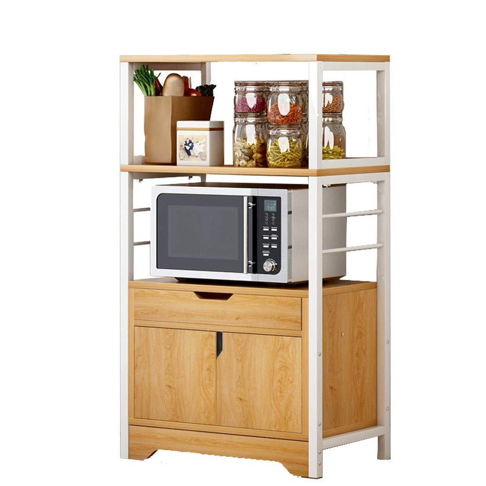 Yuybei-Home Baker's Shelf Metal Microwave Oven Rack Stand Storage Shelf with Cabinet and Drawer for Kitchen Used for Spice Rack Organization Workstation (Color : Yellow, Size : 60x34x119 cm) by Yuybei-Home
