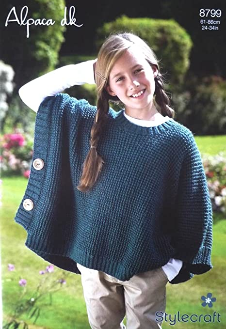 Stylecraft 8799, Alpaca DK, Poncho, Knitting Pattern: Amazon.co.uk ...