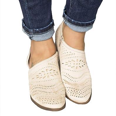 Hitmars scarpe pelle donna basse eleganti chiuse mocassini punta derby estate sandali blocco tacco 5. 5 cm moda comode sneakers nero 35