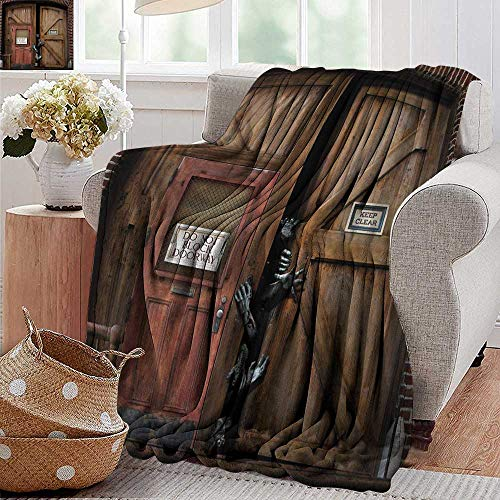 XavieraDoherty Flannel Throw Blanket,Zombie,Monsters Behind Wooden Door Demon Halloween Holiday Fear Fantasy Picture,Umber Chestnut Brown,Super Soft and Warm,Durable Throw Blanket 30