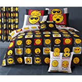 EMOJI LOL CHILL SNOOZE CHEEKY BLACK YELLOW RED COTTON BLEND CANADIAN QUEEN SIZE (230CM X 220CM - UK KING SIZE) DUVET COMFORTER COVER