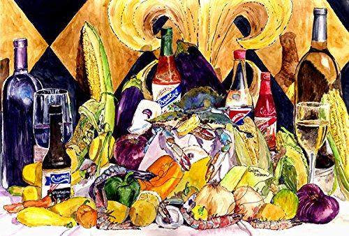 Caroline's Treasures 8638PLMT Crystal Hot Sauce With Fleur De Lis And Wine Fabric Placemat, Multicolor