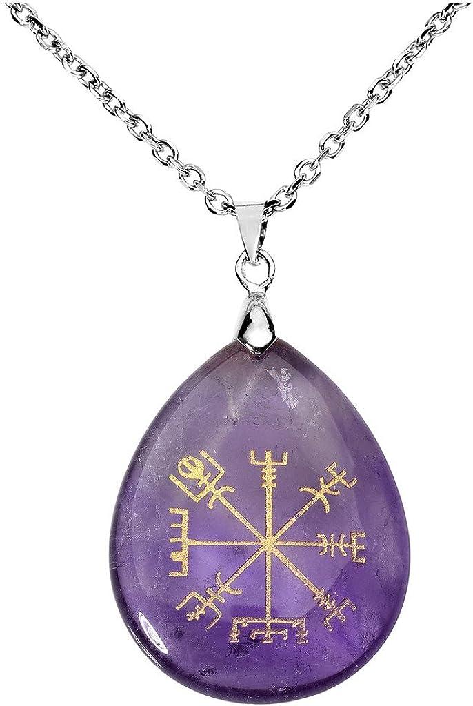 Brújula vikinga vegvisir de Jovivi, runa de cristal de cuarzo curativa con gema en forma de lágrima para los chakras (60 cm)