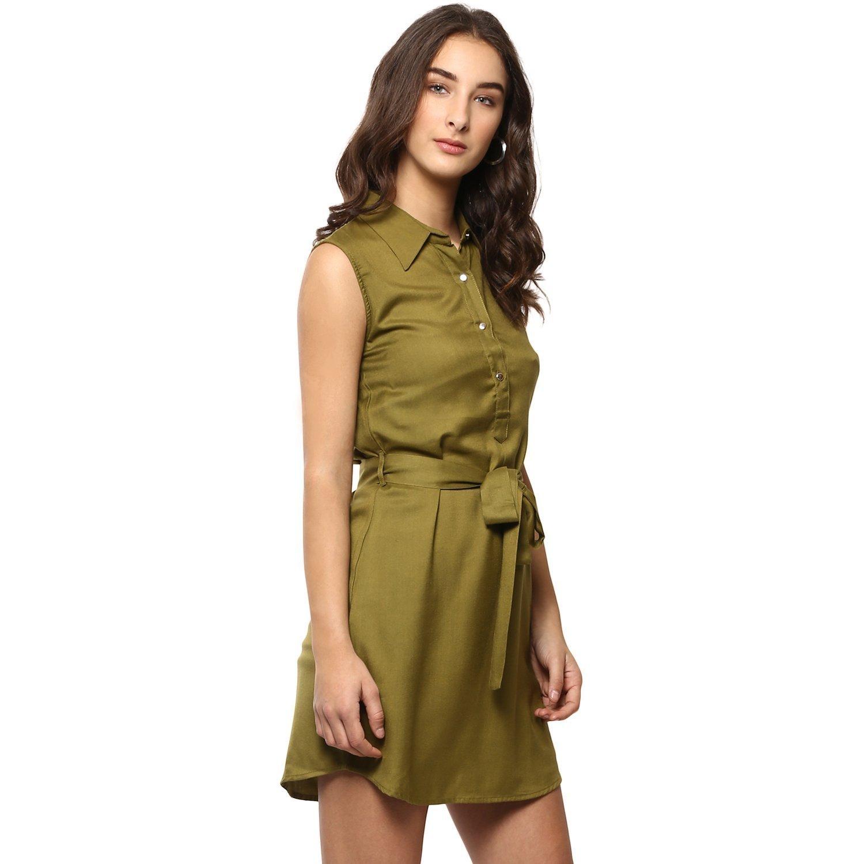 2a749d38f3c RADANYA Indian Women s Short Dress Rayon Wrap Buttoned Casual Wear Mustard  Summer Dress at Amazon Women s Clothing store