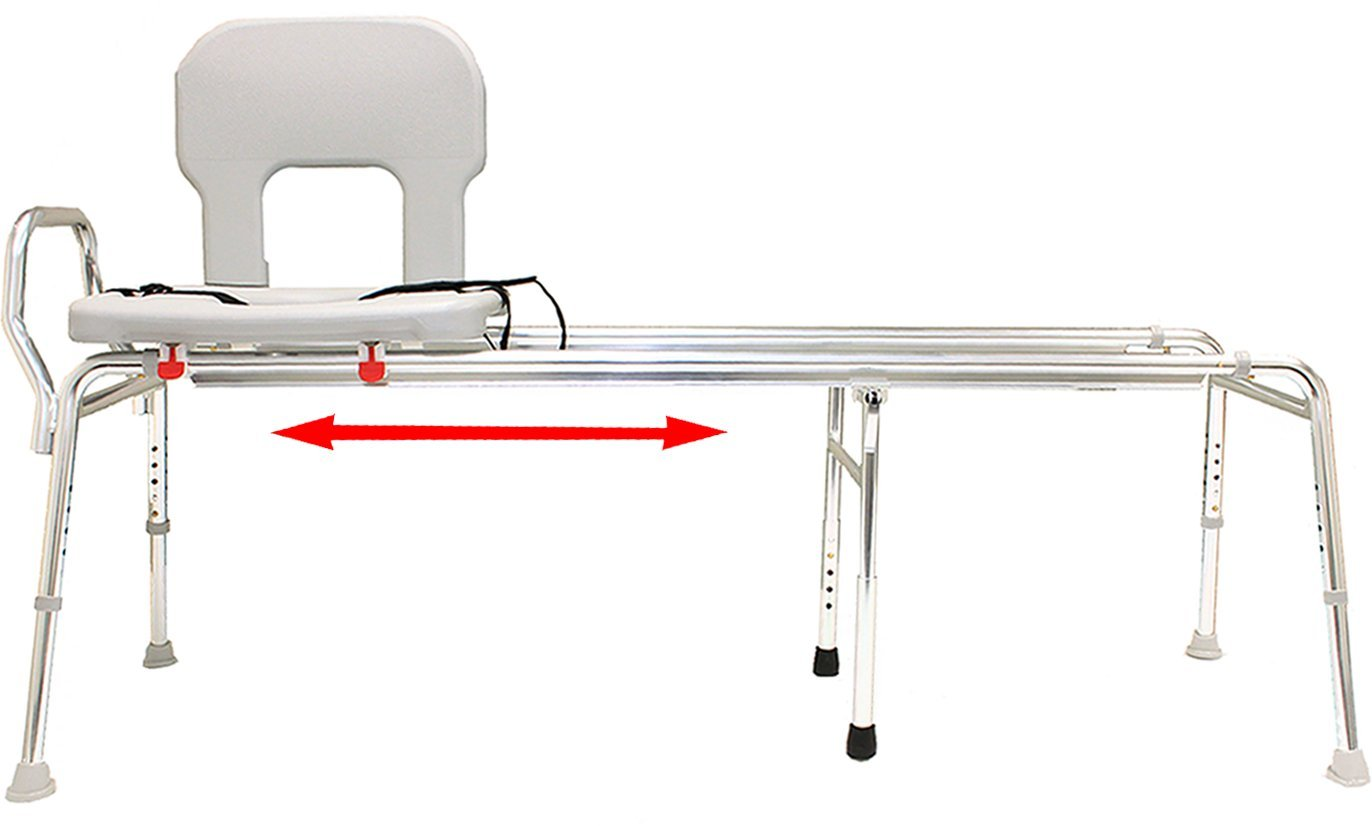 Toilet-to-Tub Sliding Transfer Bench (77963) - Long (Base Length: 53.5'' - 54.25'') - Eagle Health Supplies