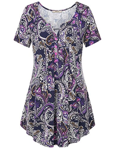 Bebonnie Women Tops and Blouse, Womens Henley V Neck Short Sleeve Tie Dye Printed Contrast Tee Shirts Violet L