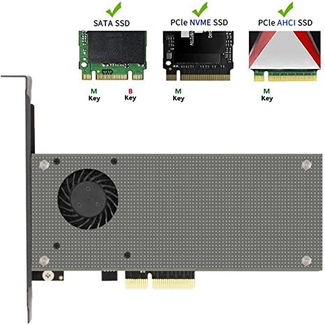 M Key M.2 PCIe Adapter to PCI-e 3.0 x4 Host Controller Expansion Card with Heatsink Cooler for PC Desktop M.2 NVME SSD