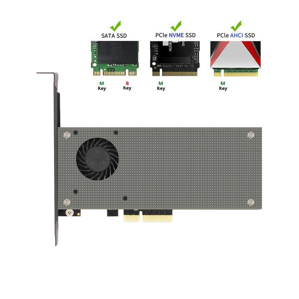 M.2 PCIe Adapter, Cooler Heatsinks with Fan,Dual M2 SSD NVME (m key) or SATA (b key) to PCI-e x 4 Host Controller Expansion , for Desktop PCI Express Slot by Voice on growth (Image #1)
