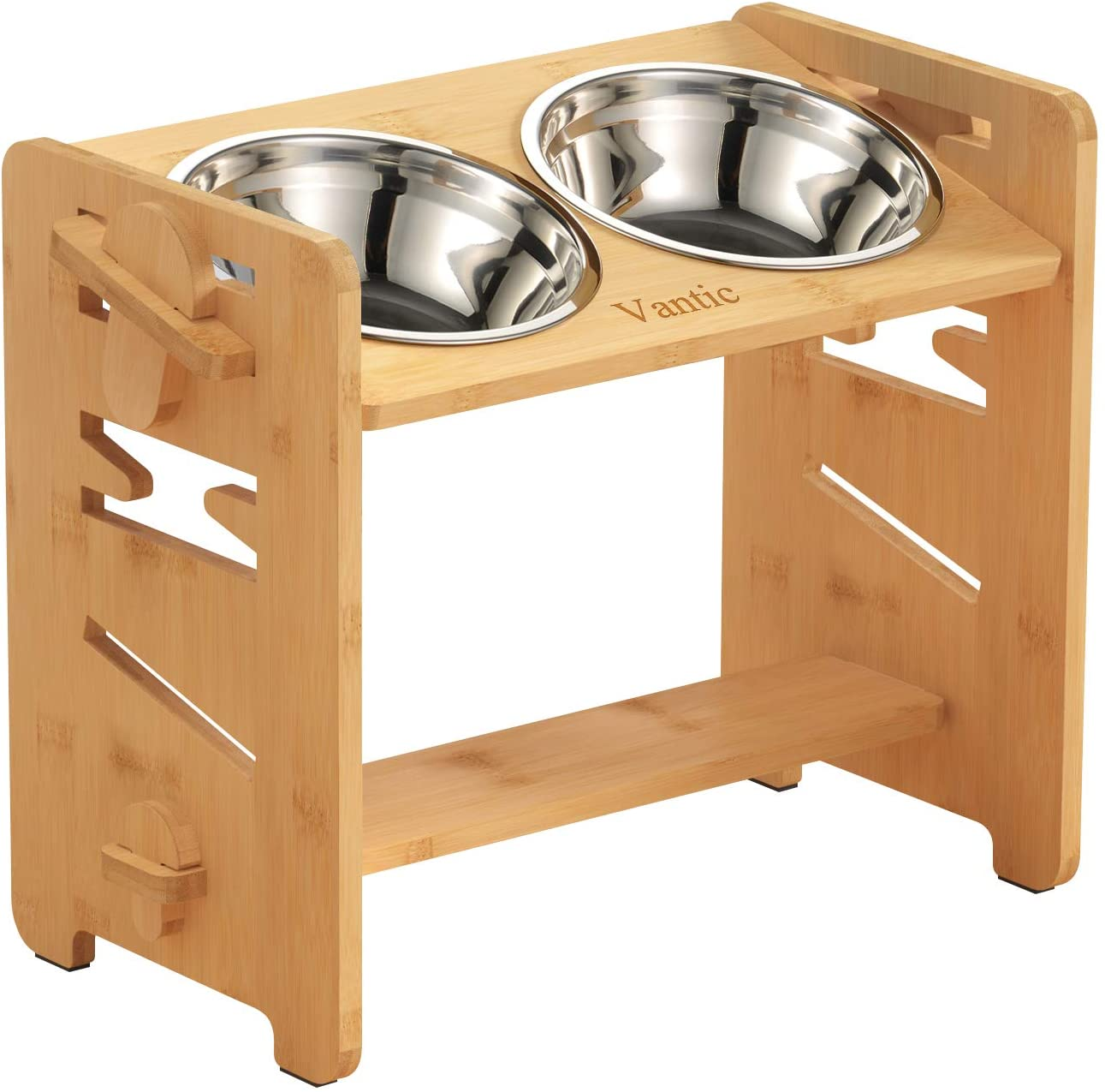 Vantic Elevated Dog Bowls-Adjustable Raised Dog Bowls for Large Dogs Medium Sized Dogs, Durable Bamboo Dog Bowl Stand with 2 Stainless Steel Bowls and Non-Slip Feet