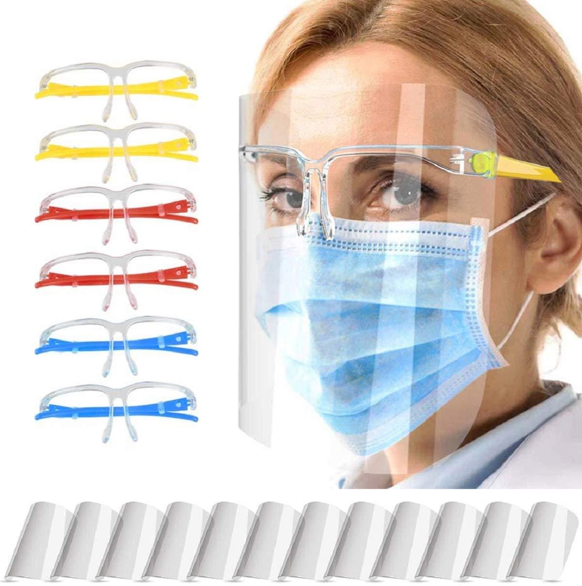 el humo aceitoso las actividades diarias y el trabajo 6 monturas de gafas y 12 protectores faciales que puede proteger los ojos de la saliva Ceestyle Visera de protecci/ón facial transparente