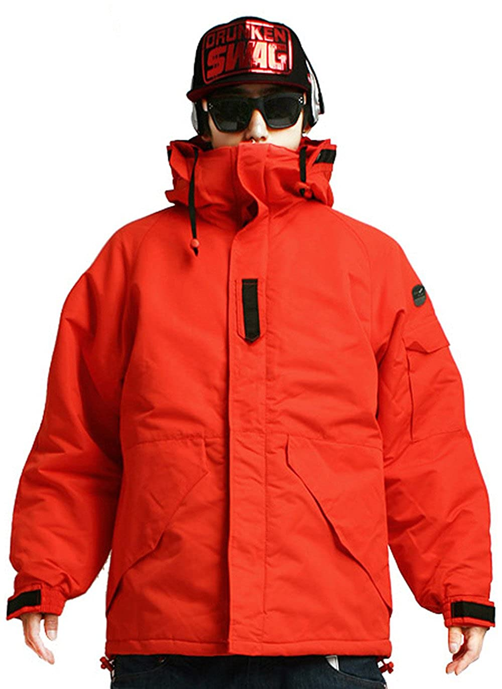 South Play Mens Waterproof Ski Snowboard Wear Jacket Jumper Solid Orange