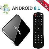 【2019 TV BOX / 4GB + 32GB】H96 MAX Android 8.1 TV Box 4G + 32G Amlogic S905X2 Quad Core ARM Cortex A53 Smart Set-top box, Support 2.4G / 5.8G Dual Wifi /3D/4k/USB3.0