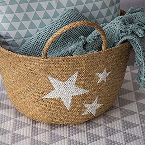 Amazon.com: Kenay Home Stars Tote Bag, Wicker, Cream, 40 x ...