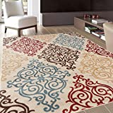 Rug Decor Modern Transitional Soft Damask Area Rug, 3'3″ by 5′ 3″, Cream For Sale