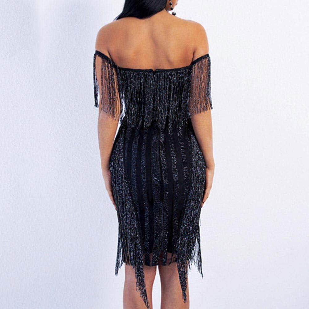 OKHGF Robes de maternité Noir Robe à épaules dénudées Longueur au Genou Gland sans Manches Sirène Robes de soirée Formelles Noir