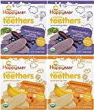 Happy Baby Organic Teething Wafers Variety Bundle With 2 Flavors (Purple Carrot, Sweet Potato)