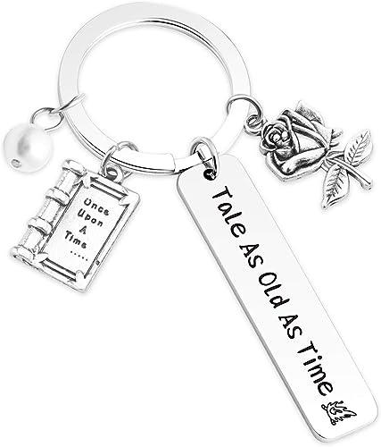 BELLE Beauty And The Beast DISNEY PRINCESS Rose Pendant Charm KEYRING Keychain