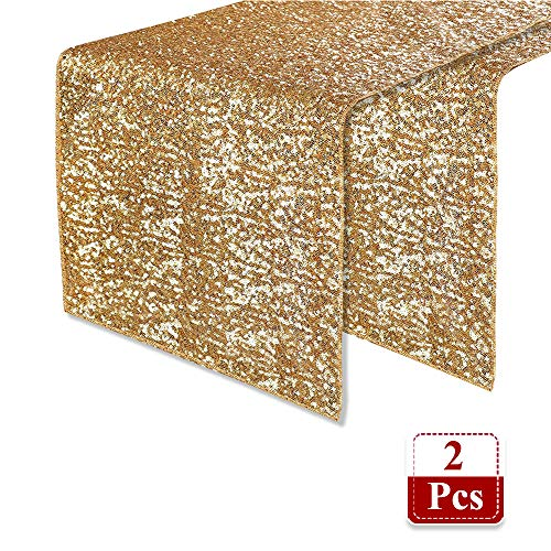 PONY DANCE Table Runner Sequin for Party - Banquet Decoration Sparkling Sequins Table Runner Glitter with Hem Edge Party Supplies Fabric for Baby Show, 14