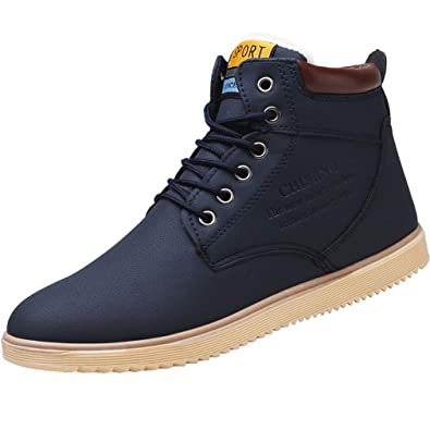 c7166fb289 Juqilu Men's PU Leather Sneaker Snow Boots Winter Shoes Sport Trainers Lace  Up Flat Shoes with