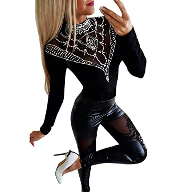 1a7b4d9600a971 yoyorule Fashion Sports Clothes Women Sexy Slim Featuring lace Casual  Leather Pants Black