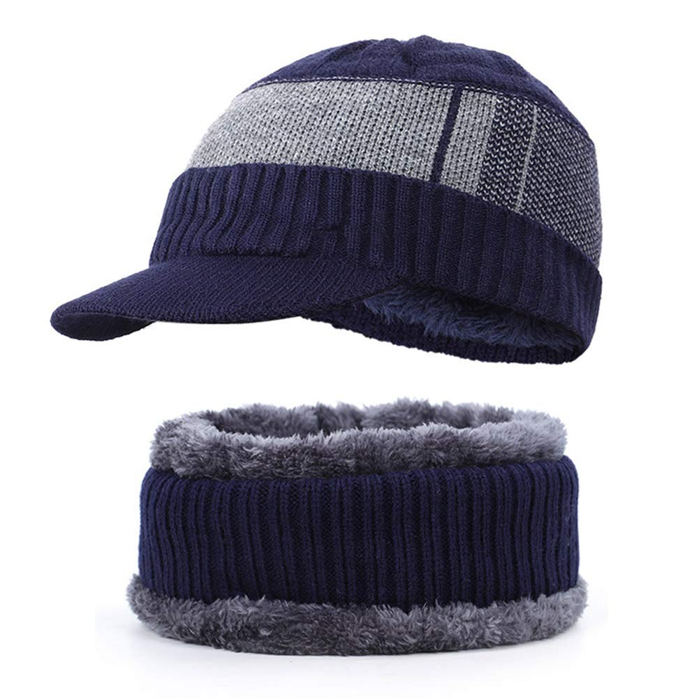 Berretto Invernale da Uomo Cappello e Sciarpa per Uomo Cappello Blu Navy con Passanti per Sciarpa Morbido e Traspirante Icegrape Foderato in Pile con Visiera