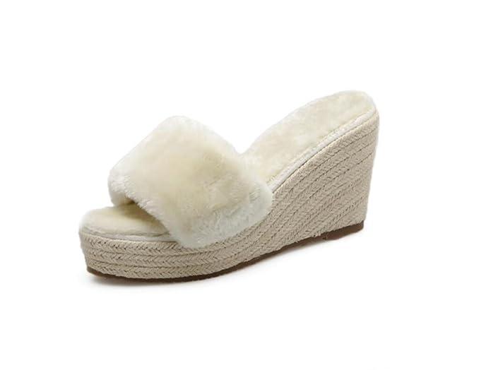 DANDANJIE Scarpe e Ciabatte da Donna Primavera Fashion Open Toe Warm  Pantofole da Esterno Scarpe con Zeppa Sexy con Zeppa (Nero Beige 34-39)   Amazon.it  ... 86989e92464
