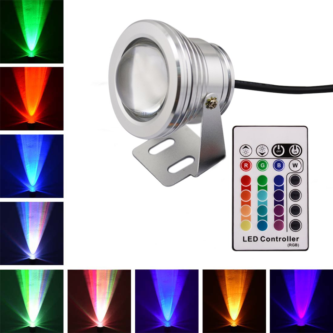 lonove® 10w rgb led underwater spot light multi color 12v 16 Rbg Wiring Multiple Lights Pond lonove® 10w rgb led underwater spot light multi color 12v 16 colors changing ir remote waterproof pool fountain pond outdoor use 150cm (59inch) cord cable Three-Way Wiring Multiple Lights
