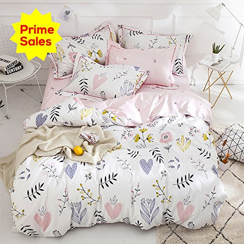 ORoa fluffy Cartoon Plant Flower print out Girls Twin Bedding Duvet Cover Sets Cotton 100 Percent for Kids Toddler Teen Women Colorful Floral relatively easy to fix Teen Bedding Sets Twin Pink