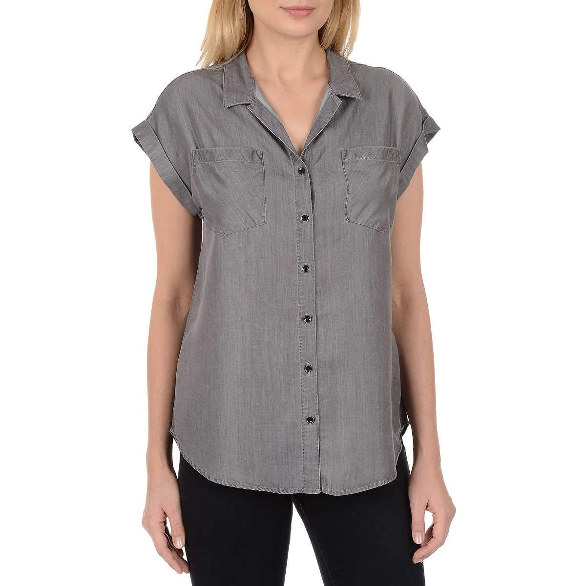 Jachs Girlfriend Women's Short Sleeve Tencel Blouse (Grey, Medium)