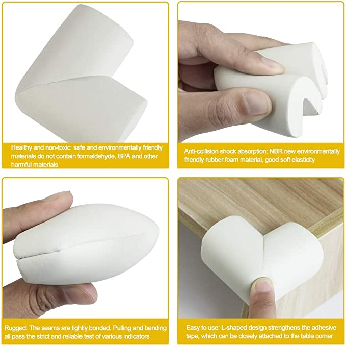 Baby and Furniture Protection 8 Pieces ZILONG Child Safety Corner Protectors Soft Corners Edge Protection Corner Protection Antifouling Oil-tight and Waterproof White Foam Corner Protectors for Children