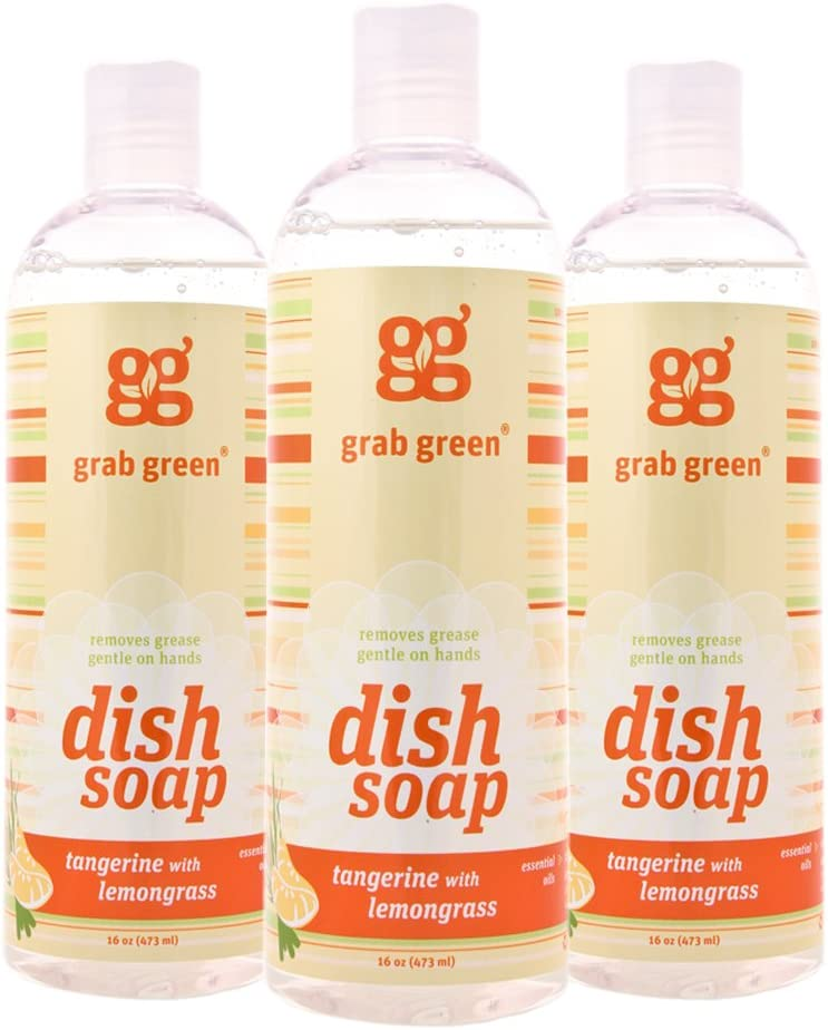 Grab Green Natural Liquid Dish Soap, Biodegradable,Tangerine with Lemongrass, 16 Ounce Bottle (3-Pack)