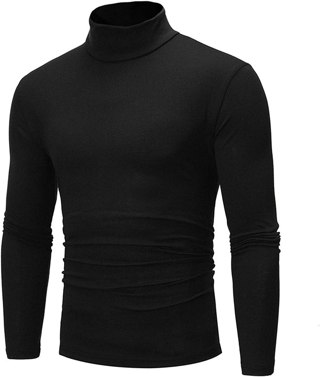 CREAMprice Mens Turtleneck Long Sleeve Shirt Slim Fit Soft Cotton Pullover