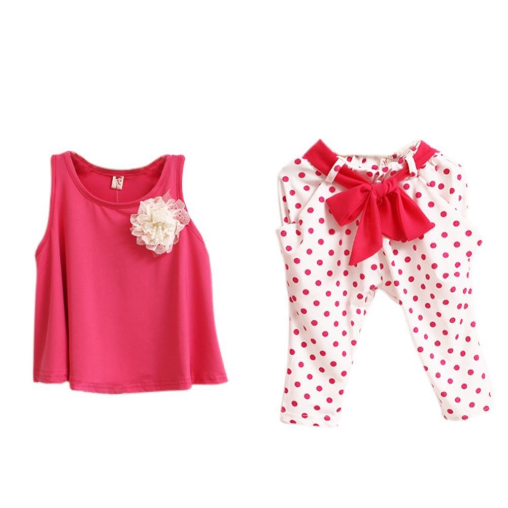 Amlaiworld Baby Girl Fiore Vest + Dot pantaloni Amlaiworld_7