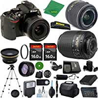 Nikon D5200 - International Version (No Warranty), 18-55mm f/3.5-5.6 DX VR, Nikon 55-200mm f4-5.6G ED DX, 2pcs 16GB Memory, Case, Wide Angle, Telephoto, Battery, Charger