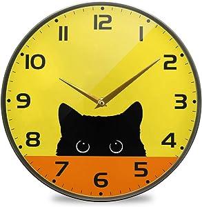 Glaphy Cute Animal Cat Cartoon Silent Art Wall Clock Non-Ticking Acrylic Clocks Battery Operated Home Office School Bedroom Decor 9.5x9.5 Inch