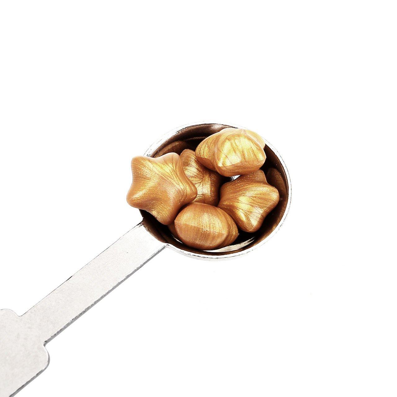 mit 1/x Schmelzl/öffel und 2/St/ück Kerzen goldfarben Mogoko Sternenf/örmige Siegelwachs-Perlen 120 St/ück