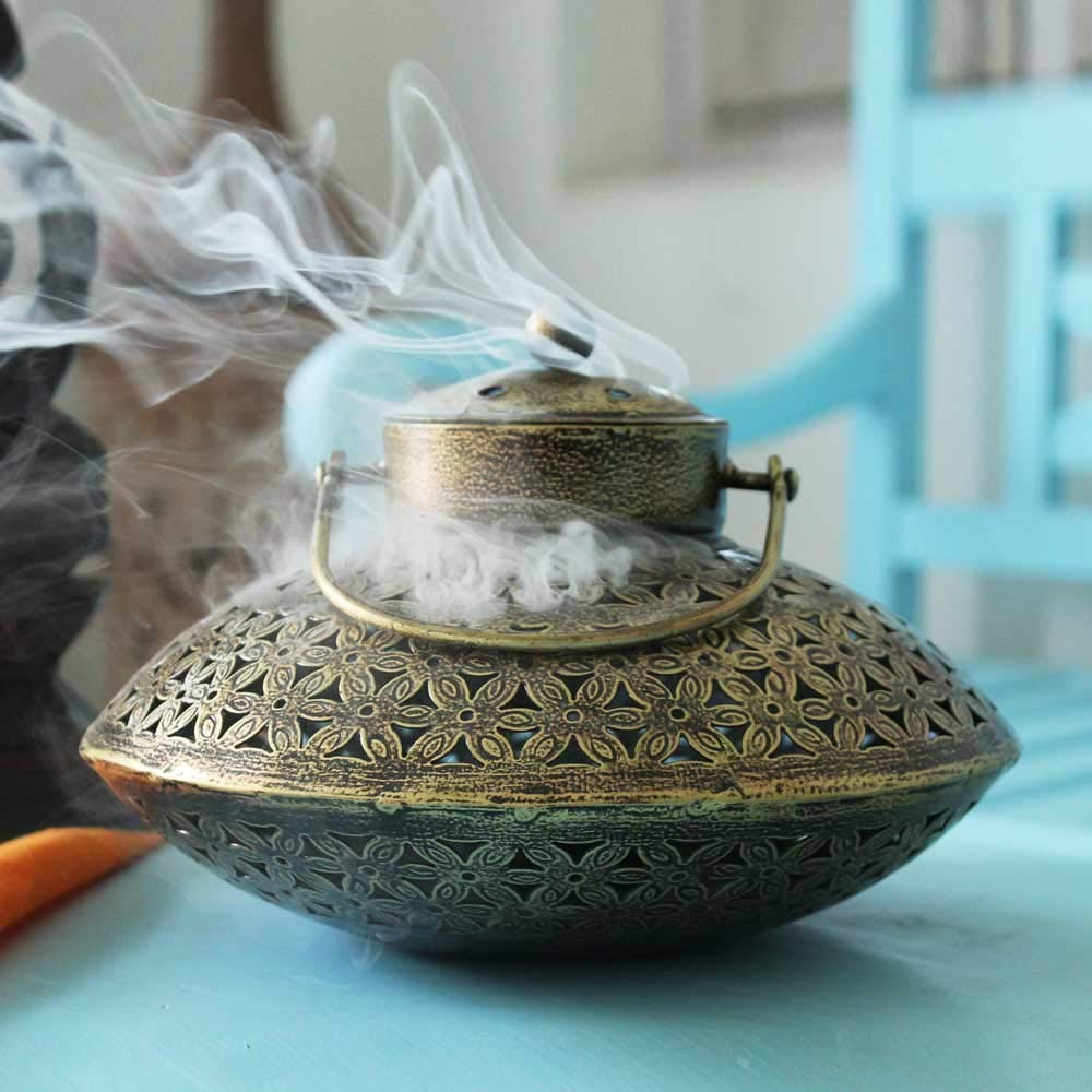 Giant Roots Handcrafted Iron Degchi Handi Pot - A Dhoop Incense Holder with Brass Bell Art Iron Hanger- 9''x9''x 6'' by Giant Roots (Image #3)